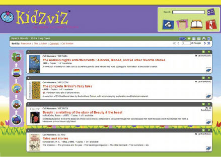 KidZviZ OPAC Screen with Search Results